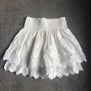 Cream Eyelet Miniskirt from Zara
